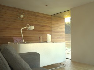 Using cladding inside a garden room