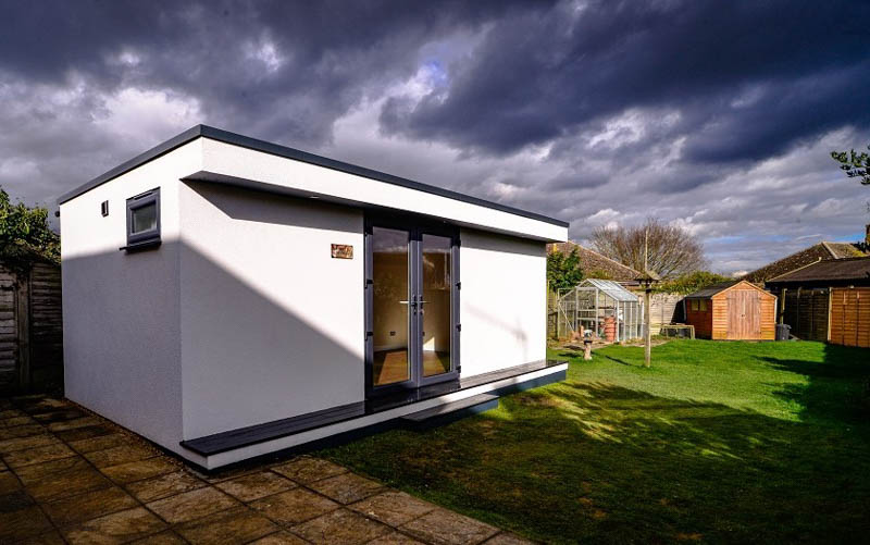 The white render looks crisp with the dark grey doors