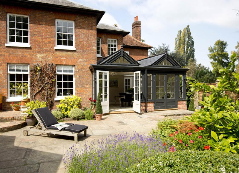 Black glazed extensions by Westbury Garden Rooms