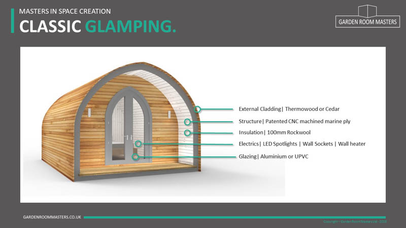 Curved glamping pod