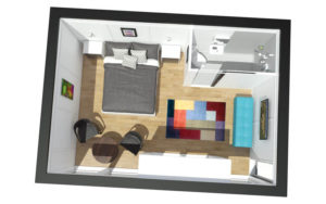 The Zedbox 535 makes a spacious double bedroom with wet room