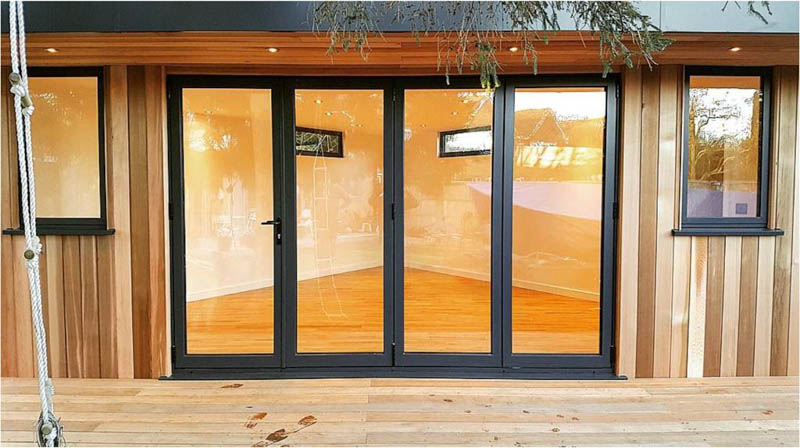 Bi-fold doors have been fitted on the long front wall