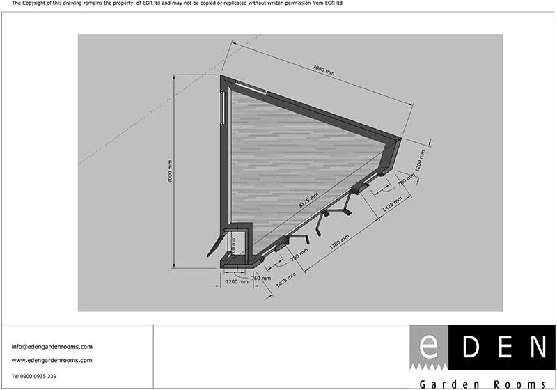 Plan for a triangular garden room