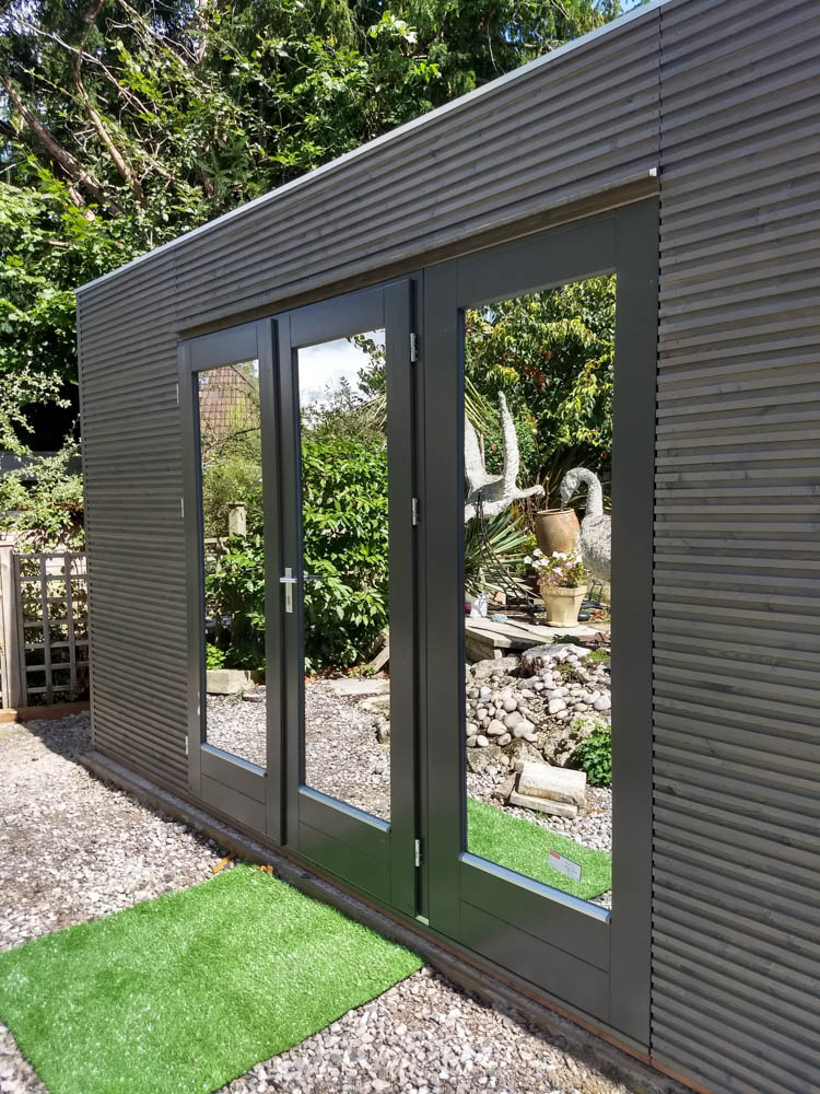 Garden room with reflective glass