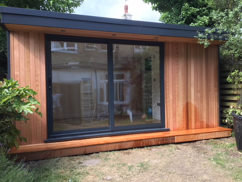 A garden office building that has been future proofed with a shower room