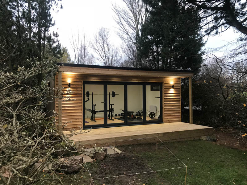 Larch clad garden gym