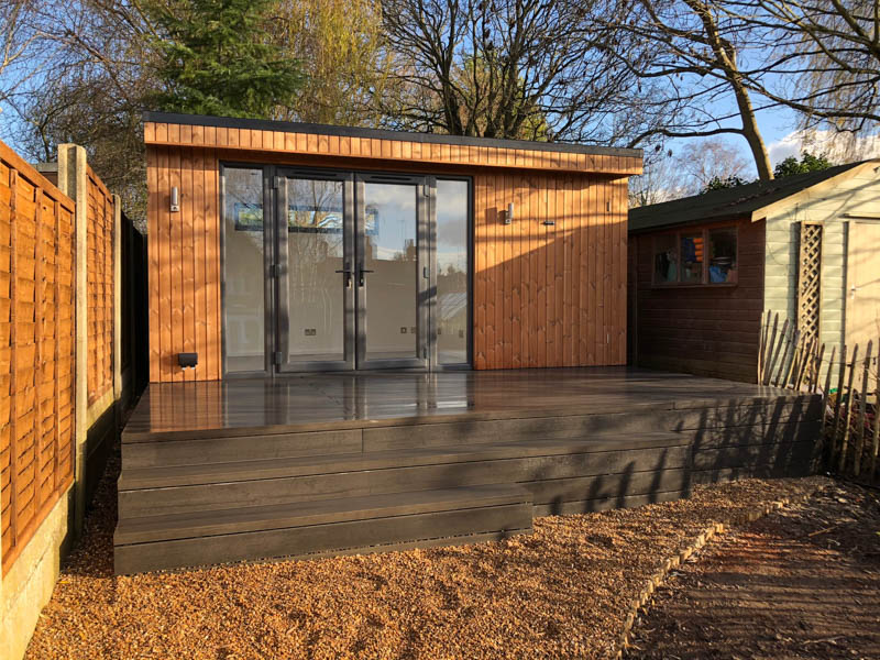 Thermowood clad garden office with shed