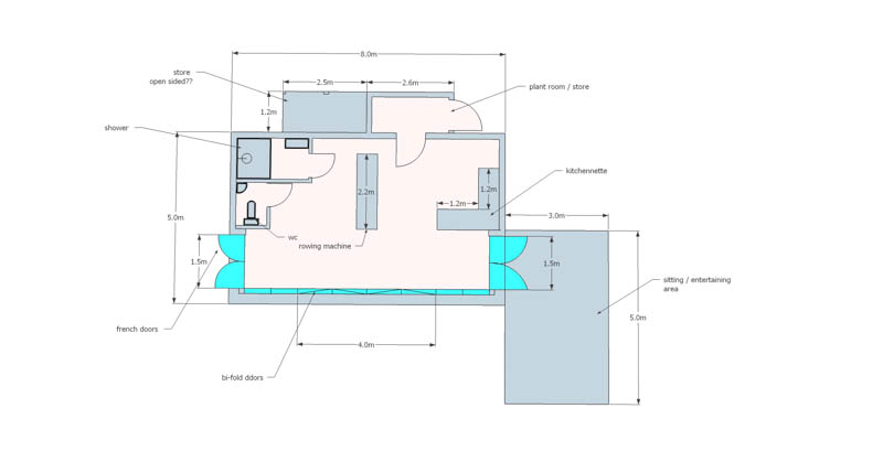Pool house floorpan by Bathstone Garden Rooms