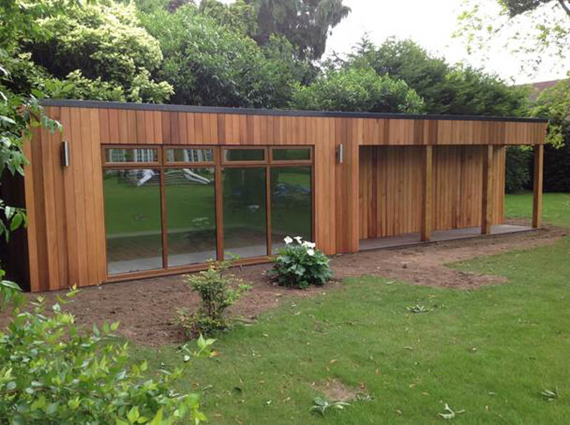 Pool house designed from customer sketches by Bathstone Garden Rooms