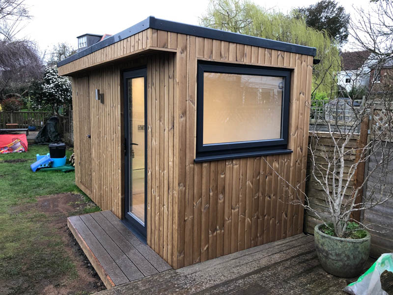 6ft Deep insulated garden studio with secret storage shed by Ark Design Build