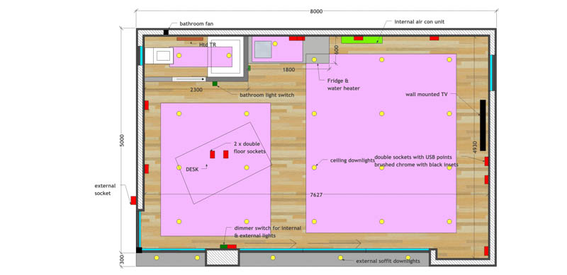Floorplan of an 8m x 5m garden office by Swift Garden Rooms