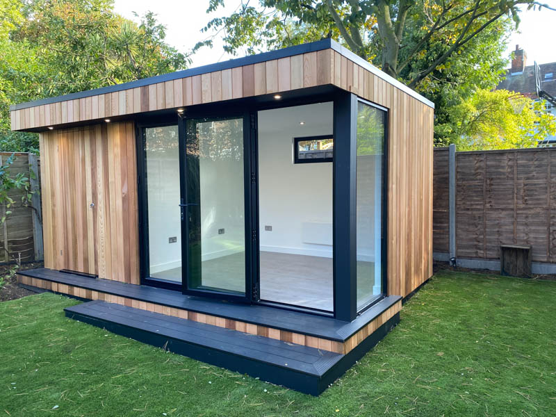 Outdoor office with shed by Garden Spaces