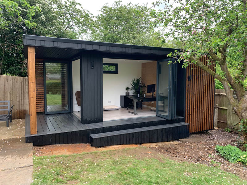 Ark Design Build garden office with storage on a sloping site