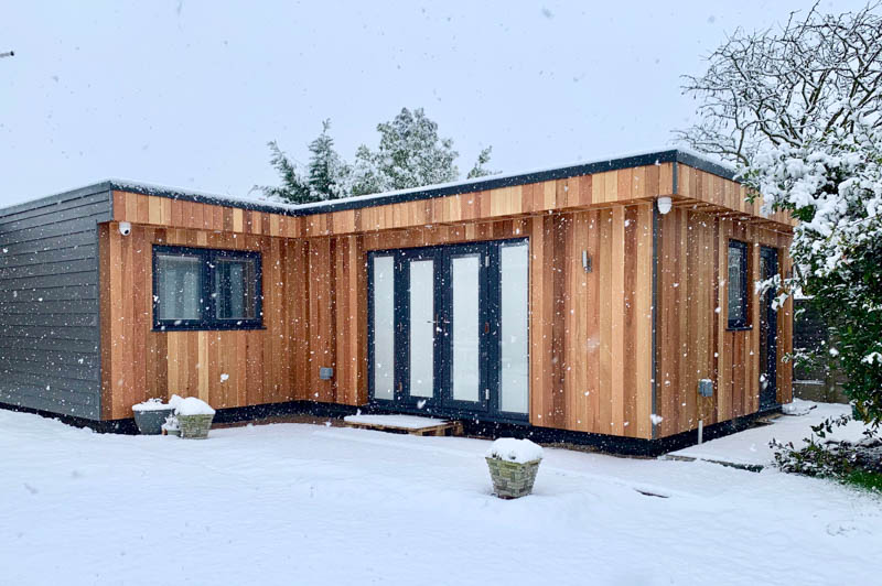 Exterior of a 47sqm L-shaped annexe