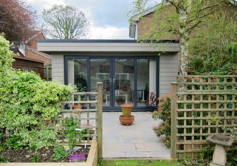Cement board cladding used on an Executive Garden Room