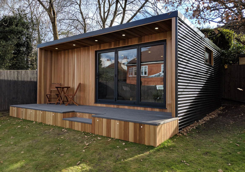 Corrugated cladding used on a Garden Fortress garden room