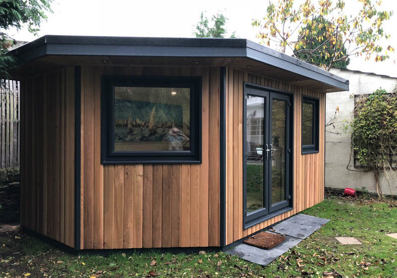 Garden office with corner wall