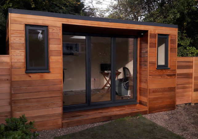 5m x 3m Cedar clad homework room in the garden
