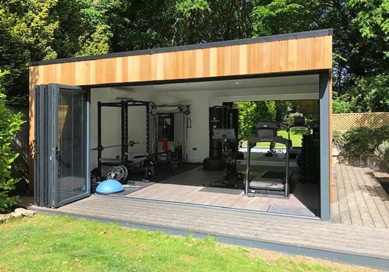 Garden gym with wall of bifold doors
