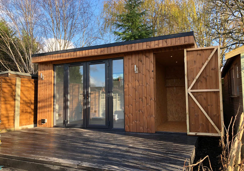 5m x 3m garden office with secret shed