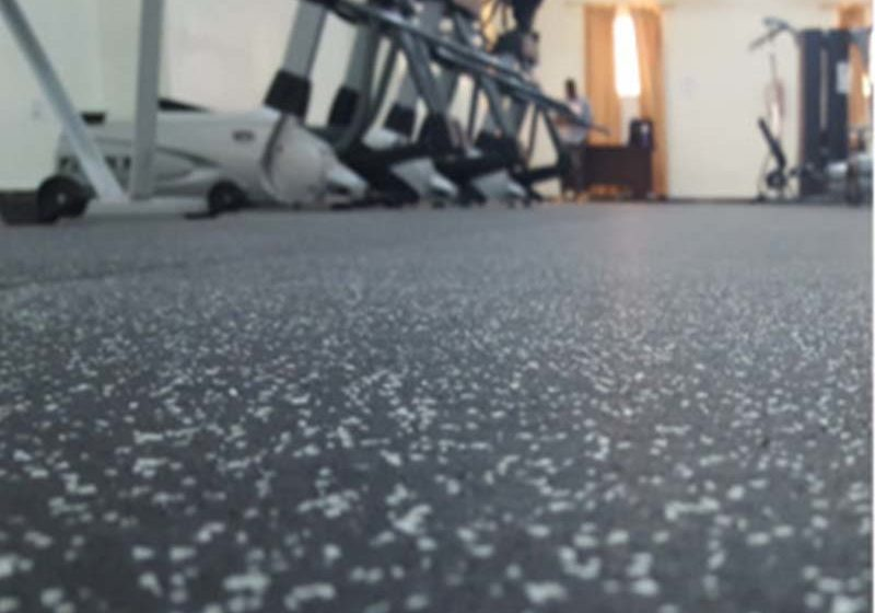 High impact rubber flooring for garden gyms
