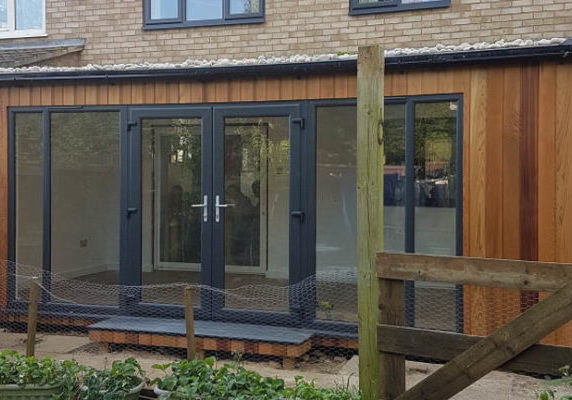 A flat pack extension replaces a conservatory